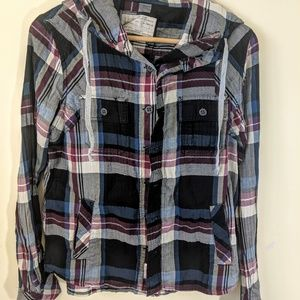 All Saints plaid hooded button-up